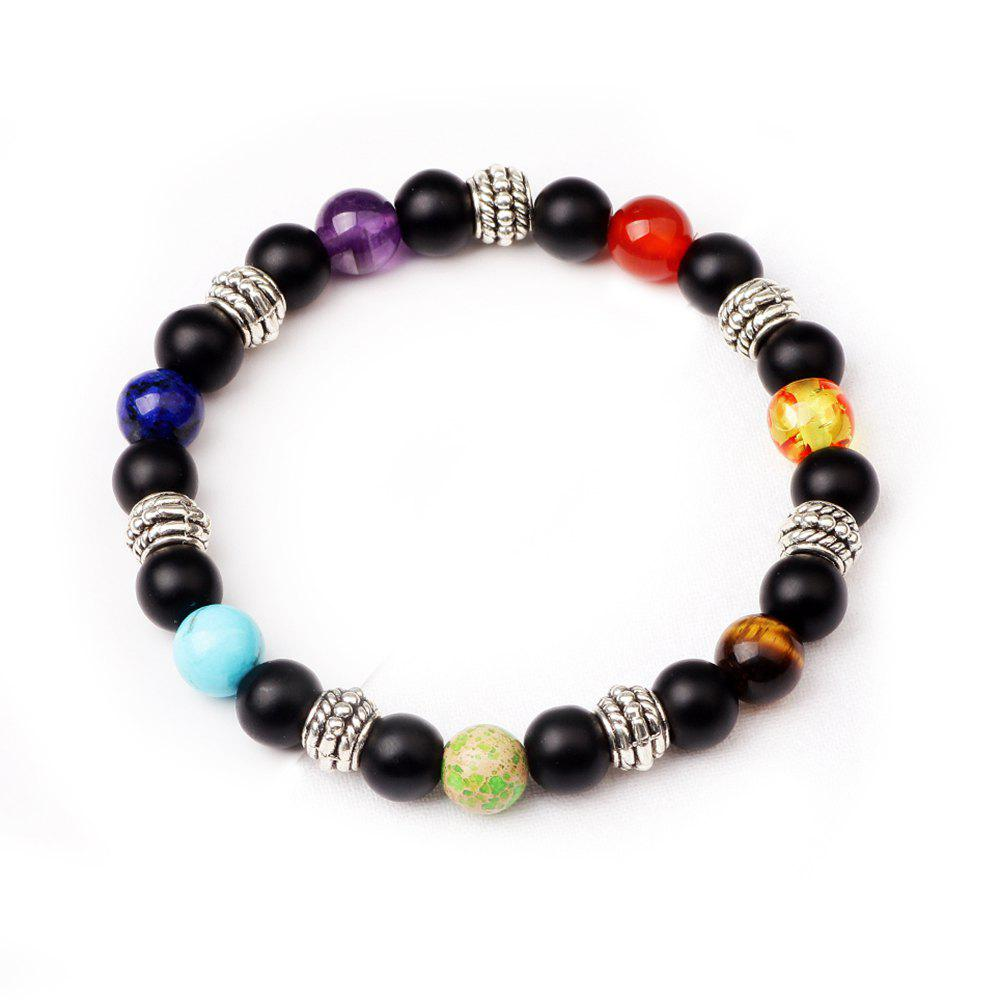 Sale 7 Colour Agate Beads By Hand Black Frosted Yoga Energy Beads Bracelet 8MM