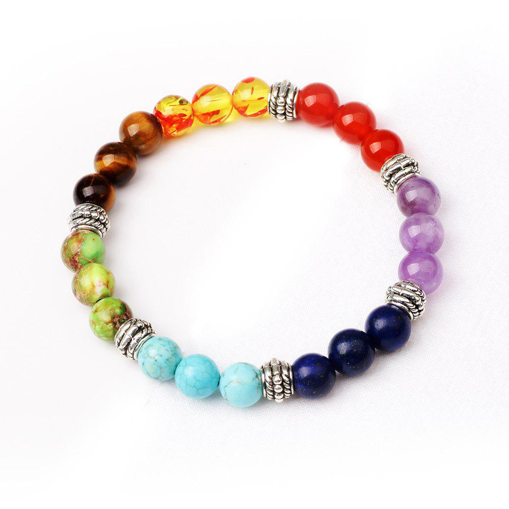 7 Colour Agate Beads By Hand Black Frosted Yoga Energy Beads Bracelet 8MMJEWELRY<br><br>Color: MUTI-COLOR TF2104/2316#;