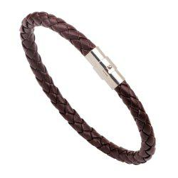 Rotating Magnetic Buckle Leather Woven Serpentine Rope Bracelet -