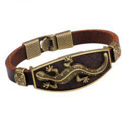Alloy Gecko Leather Bracelet - BROWN #26