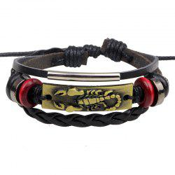 Punk Style Scorpion Bracelet Braided Leather Alloy Adjustable - GOLD