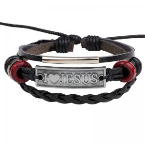 Woven Rope Alloy Leather Bracelet i Love Jesus -