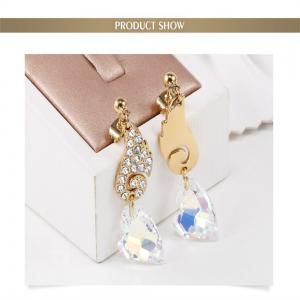 Planted 18K Rose Gold Crystal Angel Wings designed Fashion Earrings - ROSE GOLD+GREY