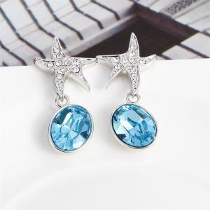 Ouxi Sterling Silver Blue Crystal Starfish Earrings for Girls And Womens - SILVER AND BLUE