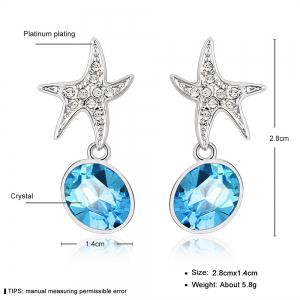 Ouxi Sterling Silver Blue Crystal Starfish Earrings for Girls And Womens -