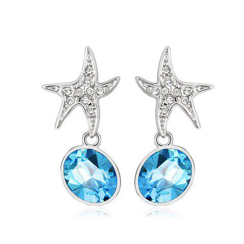 Store Ouxi Sterling Silver Blue Crystal Starfish Earrings for Girls And Womens SILVER AND BLUE