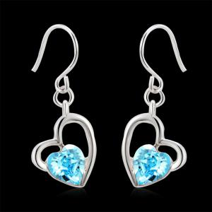 The Lure of Angel 18K White Gold Colored Heart Crystal Fashion Earrings -
