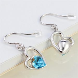 The Lure of Angel 18K White Gold Colored Heart Crystal Fashion Earrings - FROST