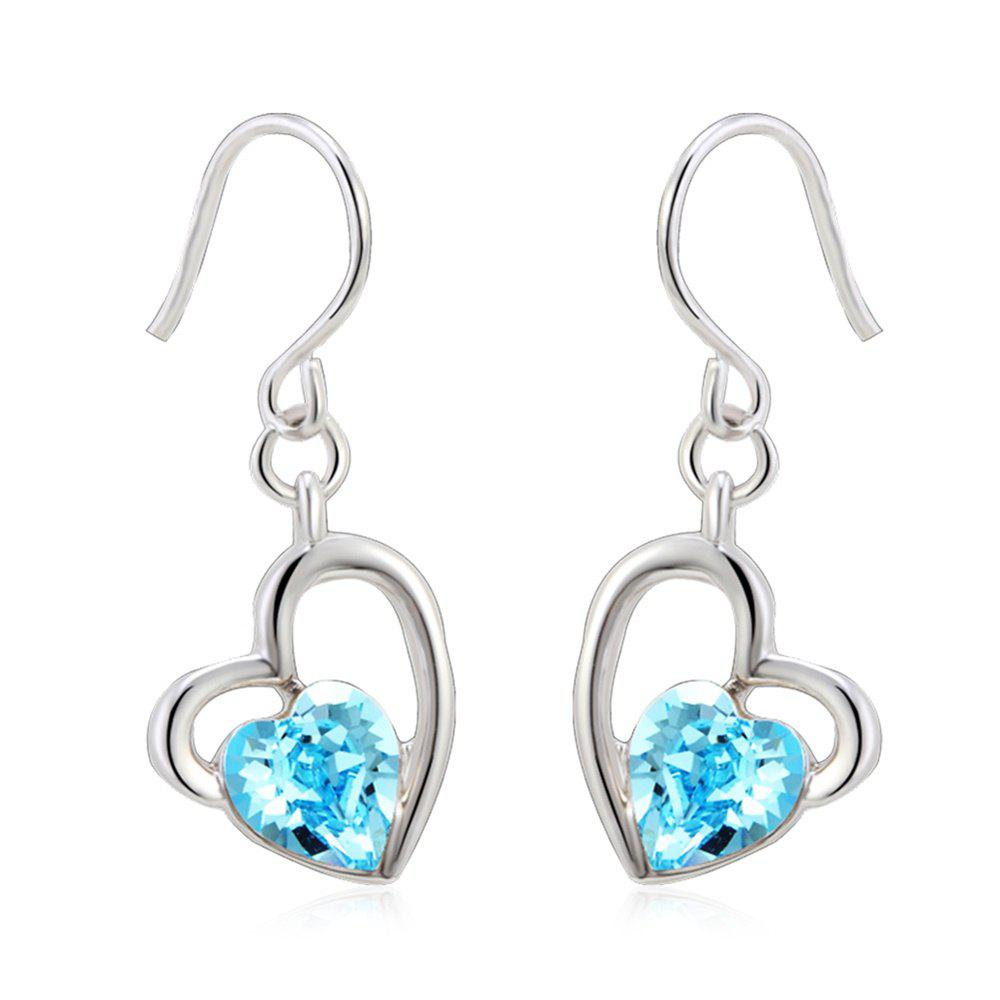 Latest The Lure of Angel 18K White Gold Colored Heart Crystal Fashion Earrings