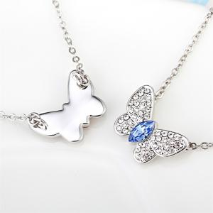 Jewelry Butterfly Pendant Light Blue Sterling Silver Necklace -
