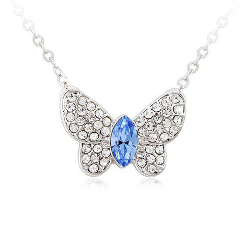Chic Jewelry Butterfly Pendant Light Blue Sterling Silver Necklace FROST