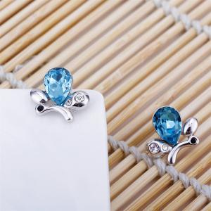 Sterling Silver Cubic Zirconia Butterfly Shape Stud Earrings Blue Crystal for Girls -