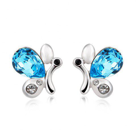 Trendy Sterling Silver Cubic Zirconia Butterfly Shape Stud Earrings Blue Crystal for Girls SILVER AND BLUE