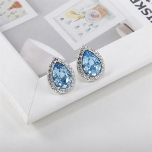 Womens Earrings Teardrop Austria Crystal for Wedding Party Silver White Gold Plated Earrings - SILVER AND BLUE