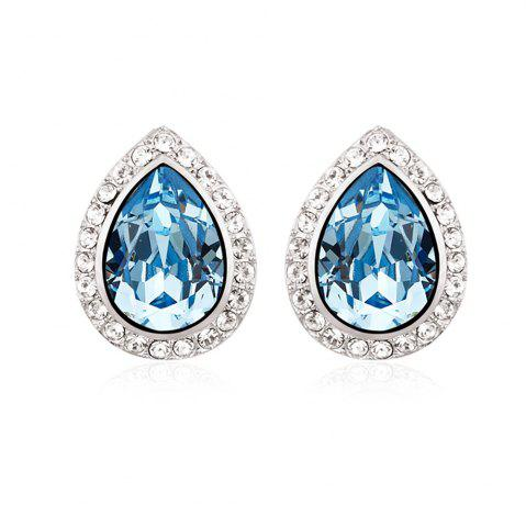 Shop Womens Earrings Teardrop Austria Crystal for Wedding Party Silver White Gold Plated Earrings SILVER AND BLUE