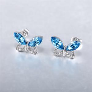 Ouxi Jewelry Blue Butterfly Platinum Plated Fashion Stud Drop Dangle Earrings for Women -