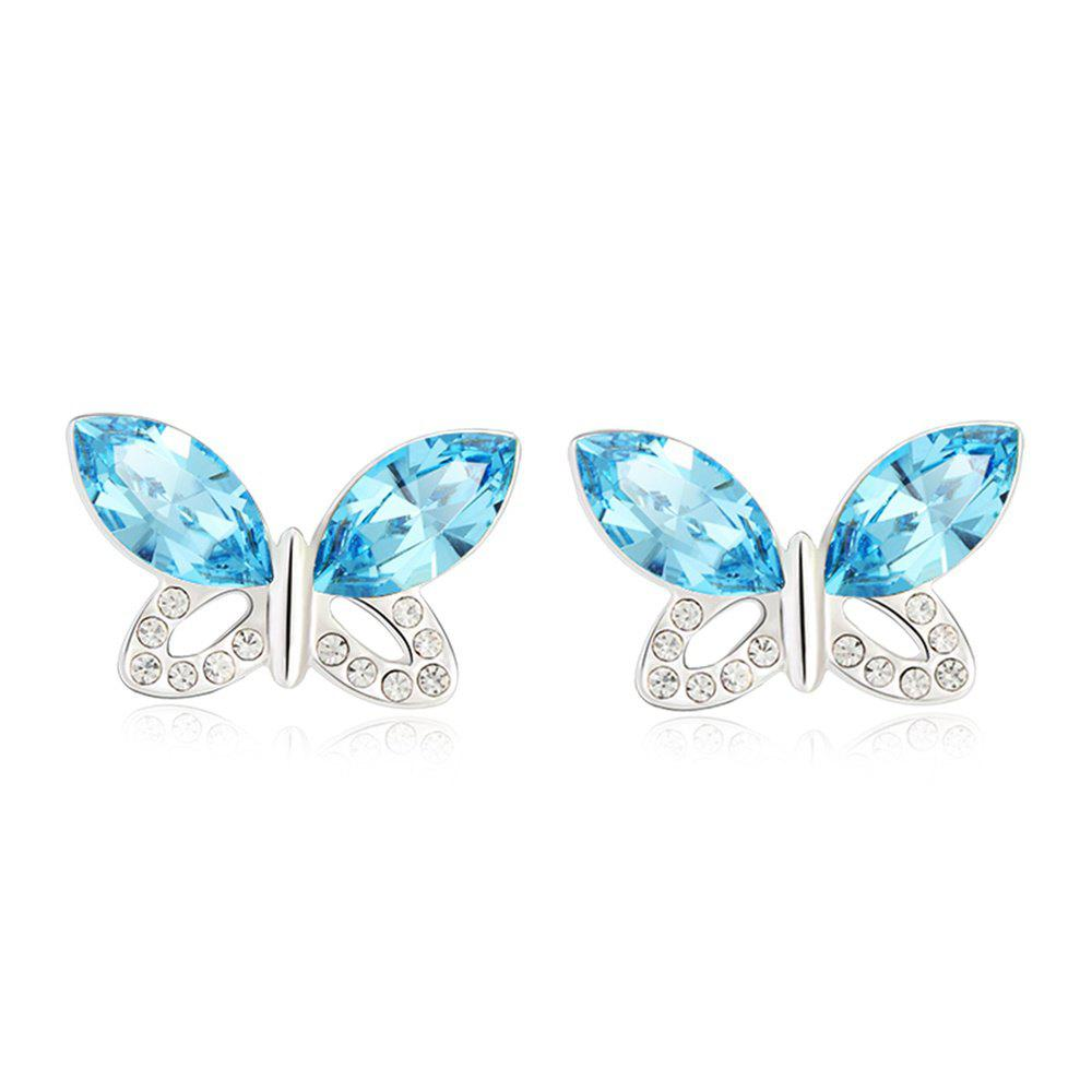 Discount Ouxi Jewelry Blue Butterfly Platinum Plated Fashion Stud Drop Dangle Earrings for Women