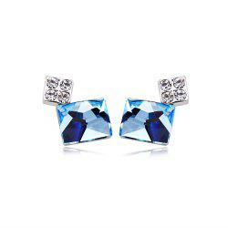 Rhodium Plating Austrian Crystals Sterling Silver Crystal Rectangle Women Drop Earrings -