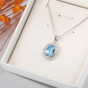 Sterling Silver Gemstone Lover Tears Drop Women Necklace Created Blue Sapphire And Round Studs -