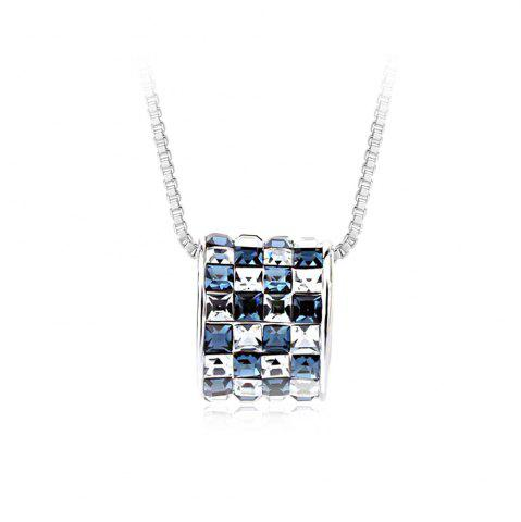 Discount Womens mens Colorful Lucky Ring Crystal Love pendant Necklace for Gift Souvenir SILVER AND BLUE
