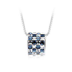 Womens mens Colorful Lucky Ring Crystal Love pendant Necklace for Gift Souvenir - SILVER AND BLUE