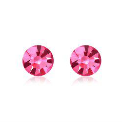 New Swarovski Elements Round Studs Austrian Crystal Pink Eyes Shape Earrings - SILVER AND RED