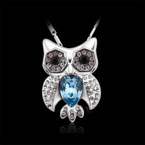 Full of Rhinestone Jewelry Womens Lucky Owl of Night Pendant Necklace -