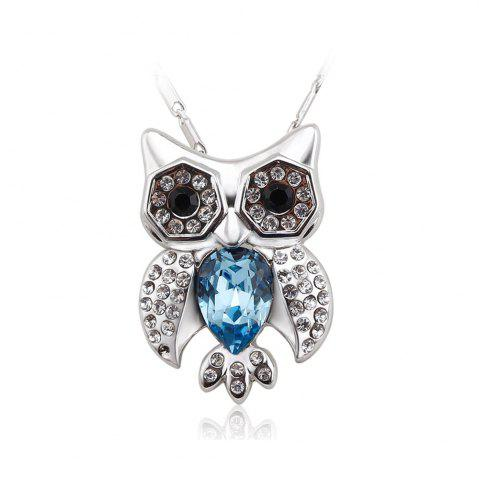 Unique Full of Rhinestone Jewelry Womens Lucky Owl of Night Pendant Necklace - SILVER AND BLUE  Mobile