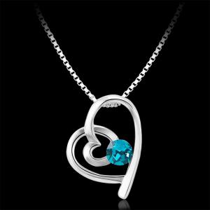 New Fashion Style Blue Heart Necklace for Romantic Valentines Day -