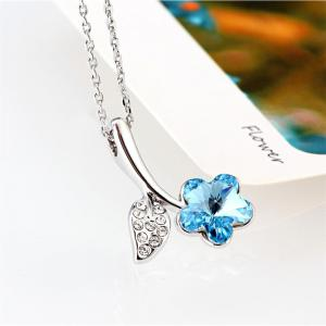 Women Girls Romantic Jewelry Beautiful Round Zircon Flower Ocean Blue Pendant Necklace -