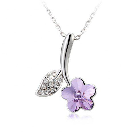 Best Women Girls Romantic Jewelry Beautiful Round Zircon Flower Violet Pendant Necklace - FROST  Mobile