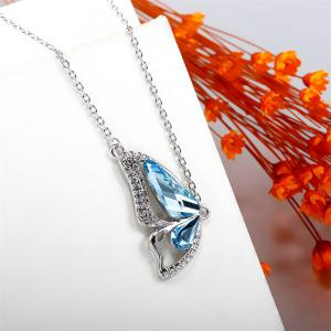Butterfly Made with Ocean Blue Made with Swarovski Elements Crystal Pendant Necklace -
