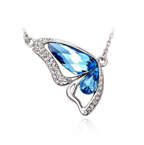 Hot Butterfly Made with Ocean Blue Made with Swarovski Elements Crystal Pendant Necklace