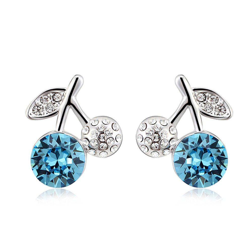 New 18K Plated Lovely Ocean Blue Crystal Little Cherry Stud Earring for Girl Or Women