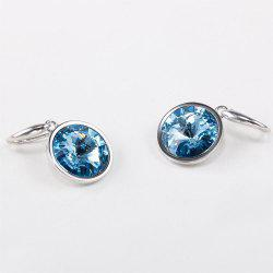 Sterling Silver Round Blue Simulated Sapphire Womens Dangle Earrings - SILVER AND BLUE