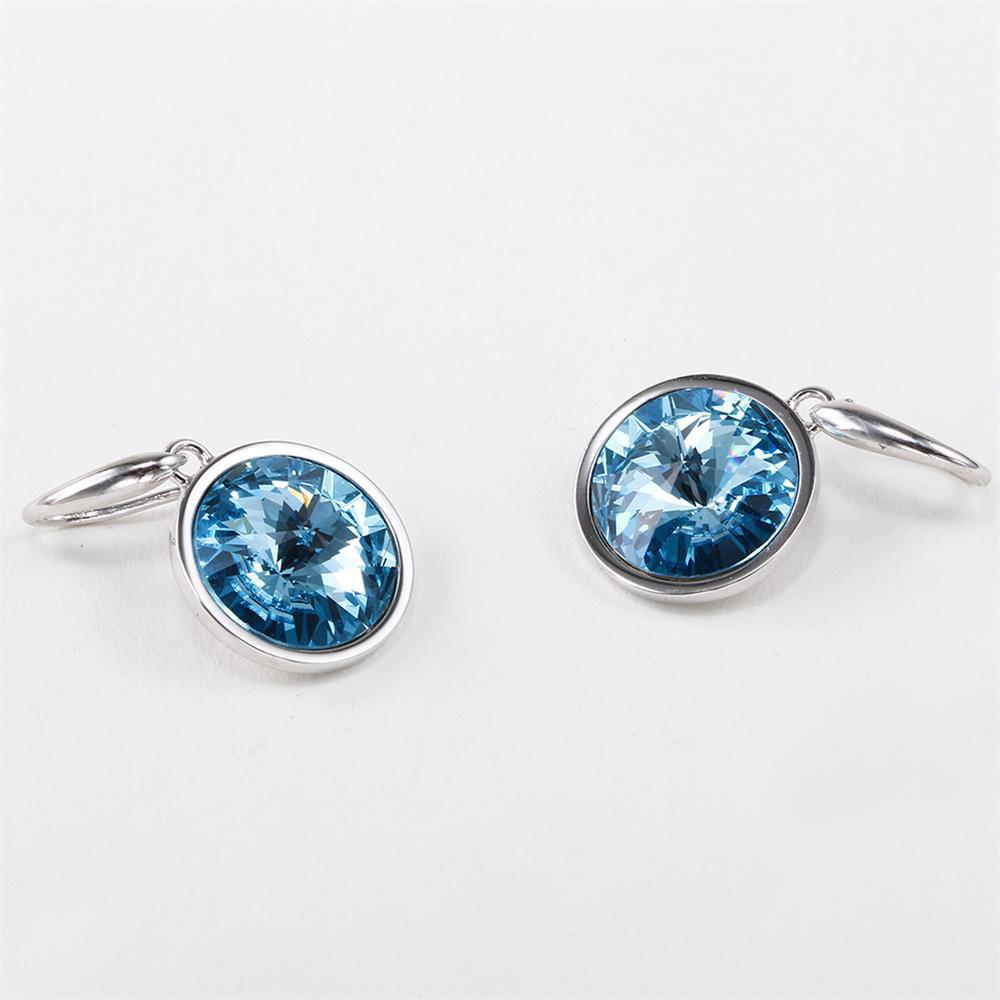 Store Sterling Silver Round Blue Simulated Sapphire Womens Dangle Earrings