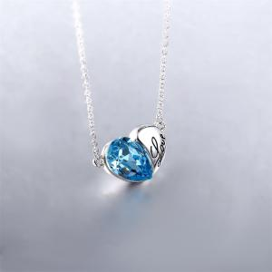 Fashion Austrian Crystals Silver Love Heart Shape Pendant Necklace Jewelry -