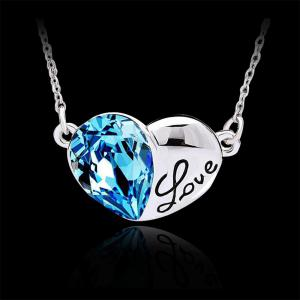 Fashion Austrian Crystals Silver Love Heart Shape Pendant Necklace Jewelry - SILVER AND BLUE
