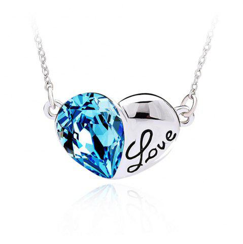 Fancy Fashion Austrian Crystals Silver Love Heart Shape Pendant Necklace Jewelry - SILVER AND BLUE  Mobile