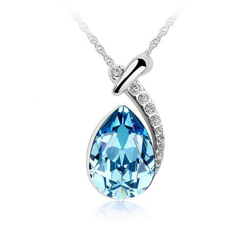 Outfits White Gold Plated Swarovski Crystal Elements New Designed Teardrop Pendant Necklace Fashion Jewelry for Women - SILVER AND BLUE  Mobile
