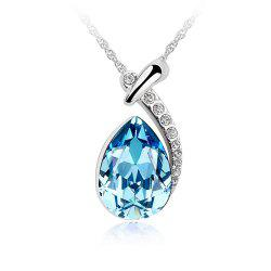 White Gold Plated Swarovski Crystal Elements New Designed Teardrop Pendant Necklace Fashion Jewelry for Women -