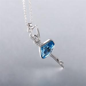Elegant Swan Lake Ballet Dance Girl Ballerina Crystal Pendant Necklace Teen Girls Jewelry - SILVER AND BLUE