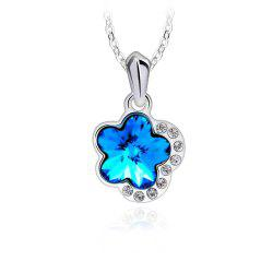 Plum Blossom Flower Crystal Heart Shape Pendant Necklaces for Women Fashion Jewelry - SILVER AND BLUE