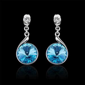 Sterling Silver Swarovski Crystal Crystal Round Lever Back Drop Earrings - SILVER AND BLUE