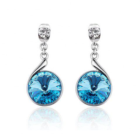 Fancy Sterling Silver Swarovski Crystal Crystal Round Lever Back Drop Earrings - SILVER AND BLUE  Mobile