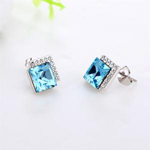 Ouxi Rectangle Earrings Studs with Cubic Zirconia Sterling Silver Ocean Blue Jewelry - SILVER AND BLUE