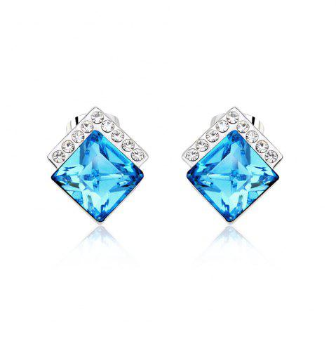Latest Ouxi Rectangle Earrings Studs with Cubic Zirconia Sterling Silver Ocean Blue Jewelry SILVER AND BLUE
