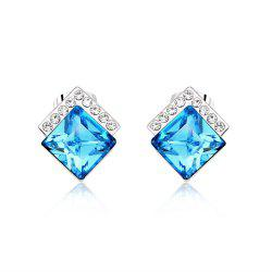 Ouxi Rectangle Earrings Studs with Cubic Zirconia Sterling Silver Ocean Blue Jewelry -