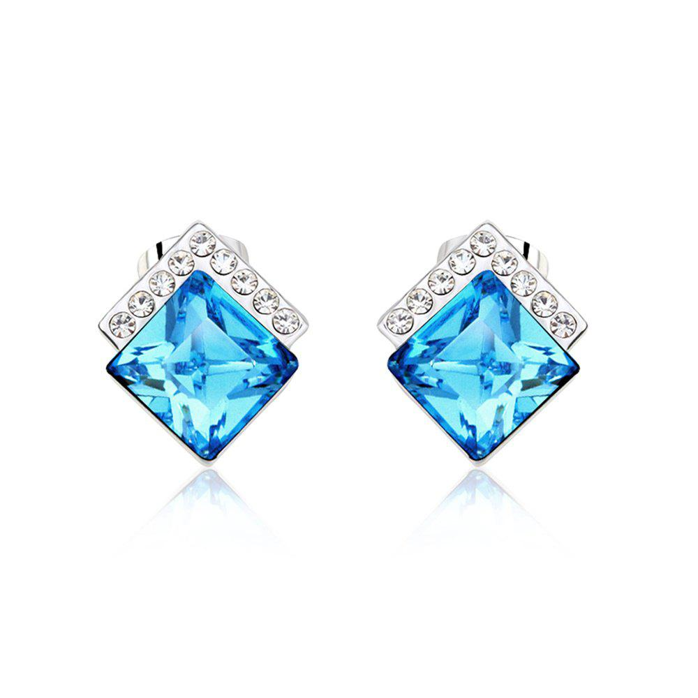 Latest Ouxi Rectangle Earrings Studs with Cubic Zirconia Sterling Silver Ocean Blue Jewelry