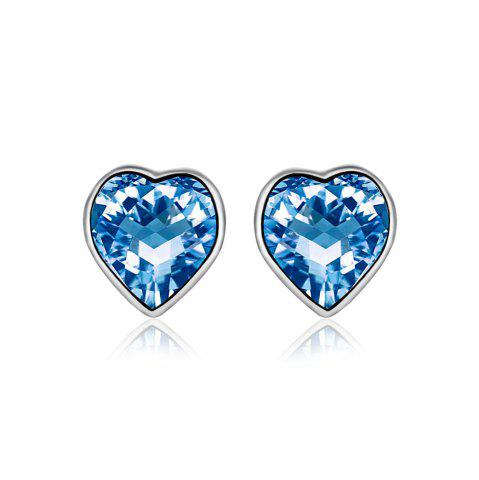 Chic Sterling Silver Love Heart Heartbeat Earrings Made with Swarovski Crystals - SILVER AND BLUE  Mobile